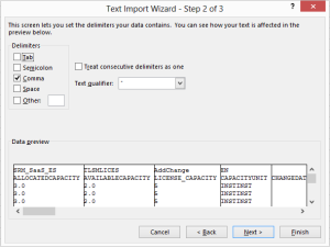 Shows Excel Text Import Wizard