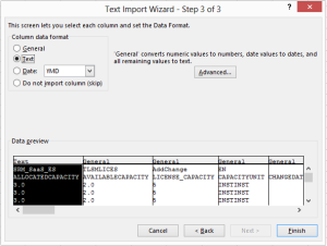 Step 3 of the Text import Wizard