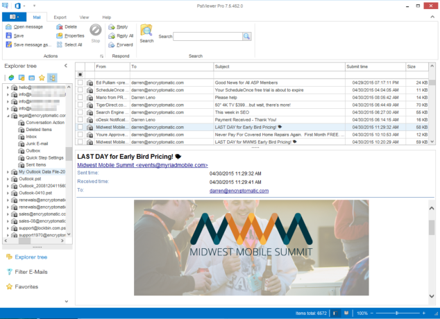 Main screen of Outlook Pst Viewer software for Windows.