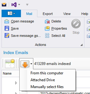 Import emails into Maildex